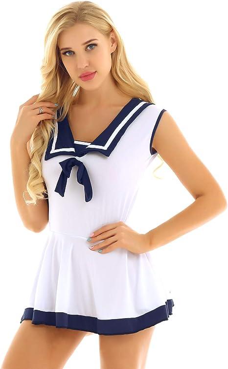 IEFIEL Vestido Colegiala Sexy Mujer Disfraz de Marinera Sailor ...