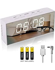 Lambony Digital Mirror Alarm Clock with Temperature Led Display Snooze Time Adjustable Brightness USB & Battery Powered for Bedroom, Office, White, 14.6 x 8.4 x 4.2 cm
