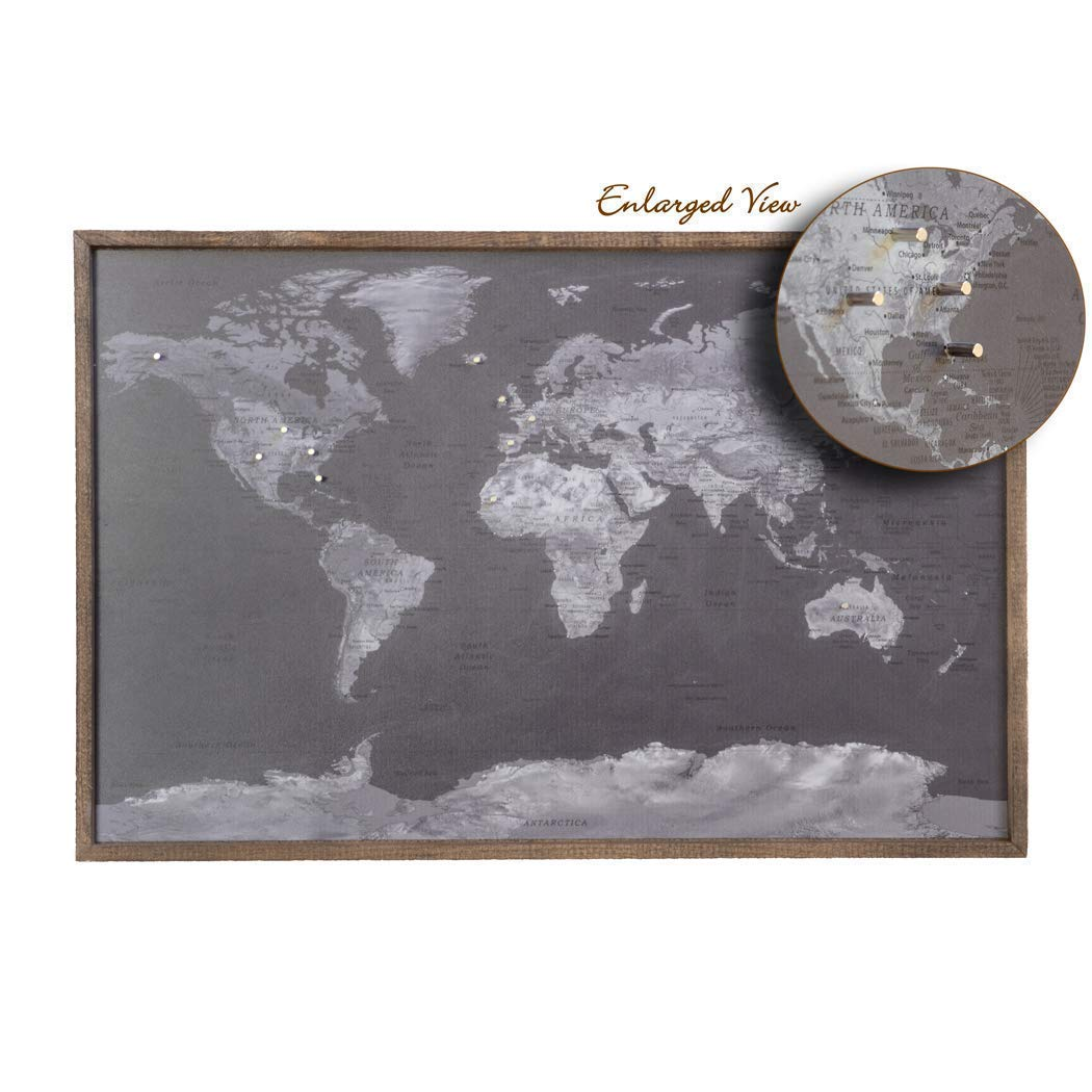 Shades of Black 24 x 16 - Metal World Map with Magnetic Push Pins - Handmade Map to Mark Your Travel