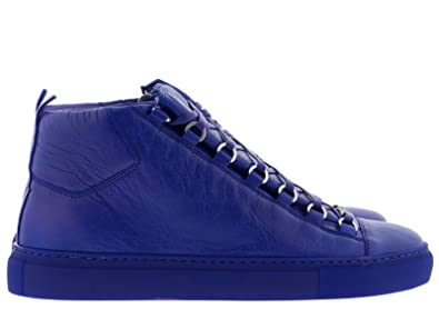 plus récent 2f2ec 0f1ff Balenciaga Homme 412380WAY404362 Bleu Cuir Baskets Montantes ...