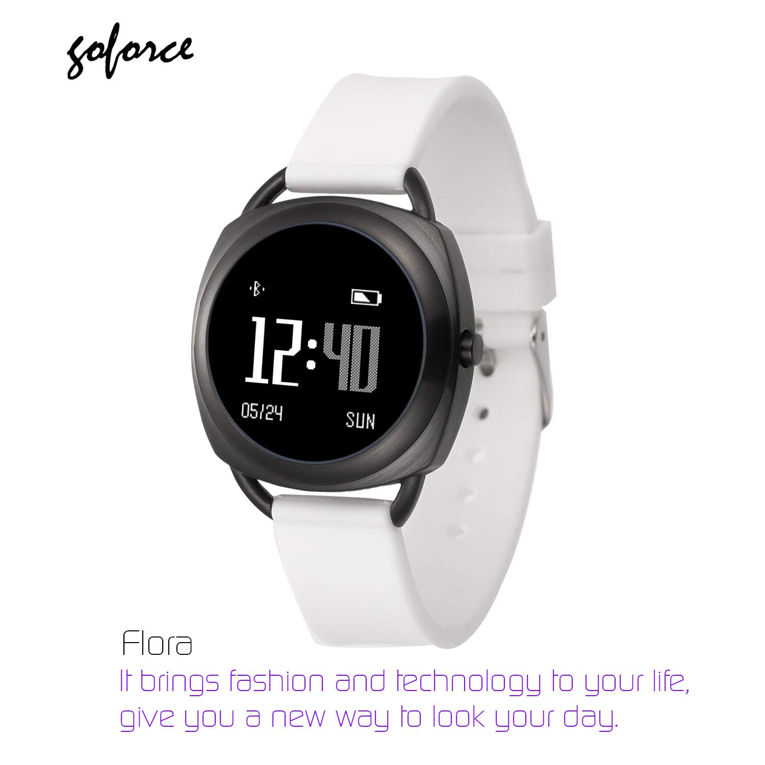 goforce Flora Fitness Activity Tracker Bluetooth Smart Watch for Women with Heart Rate Monitor Pedometer Distant Counter Calorie Burner Sleep Monitor Stainless Steel Case Waterproof 3ATM White