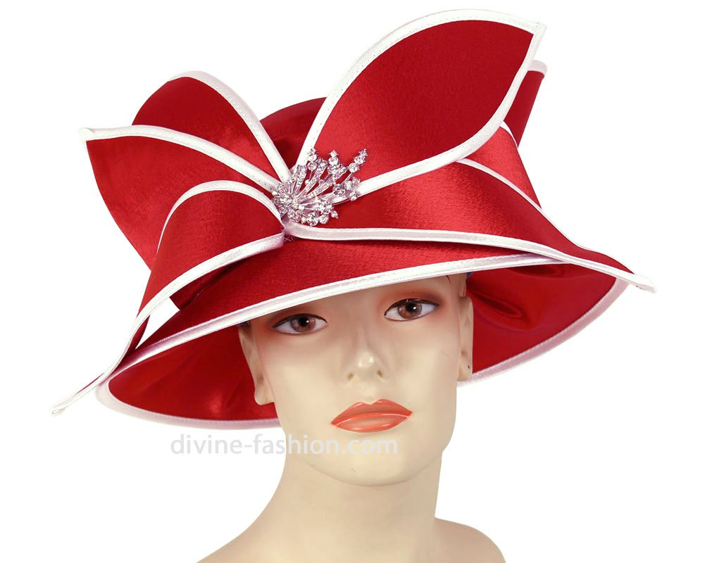 Ms. Divine Collection Women's Hats, Church Hat, Dressy Formal Hats #HL77 (Red/White)