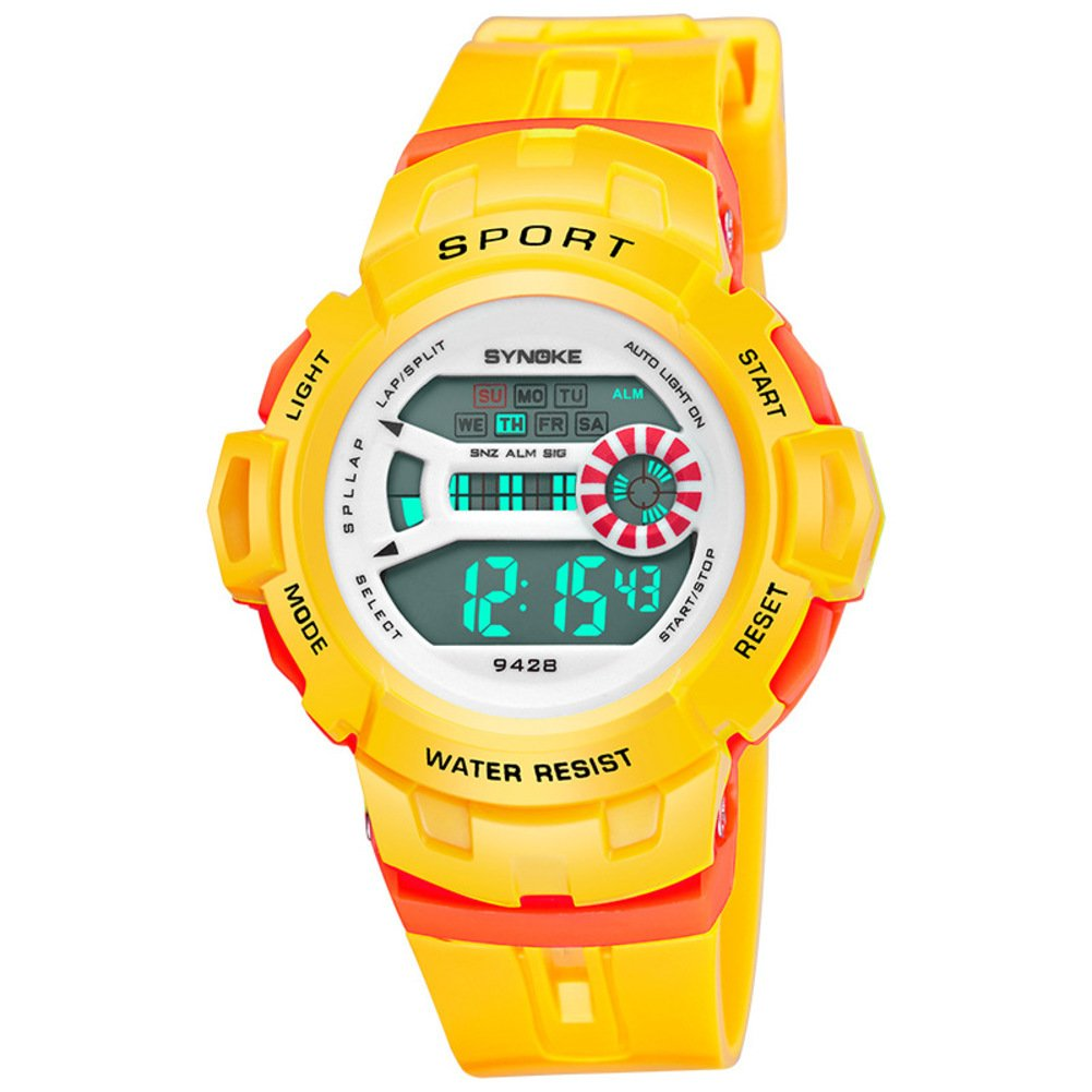 Chronograph stopwatch,Sport watch Digital watches Alarm clock Timing Luminous Multifunction Jelly watch Male and female students-E