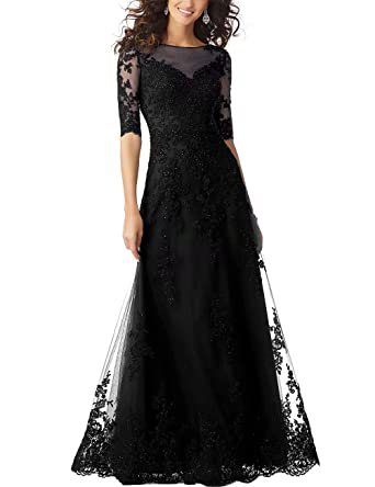 12fb36a1e556a Women's Mother of The Bride Dresses Lace Half Sleeves Evening Party Gowns  Crystal Beaded Prom Dresses