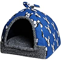 Bverionant Small Dogs Bed Soft Mat Machine Washable House Kennels for Pet Cats Puppies Nest Dark Blue L