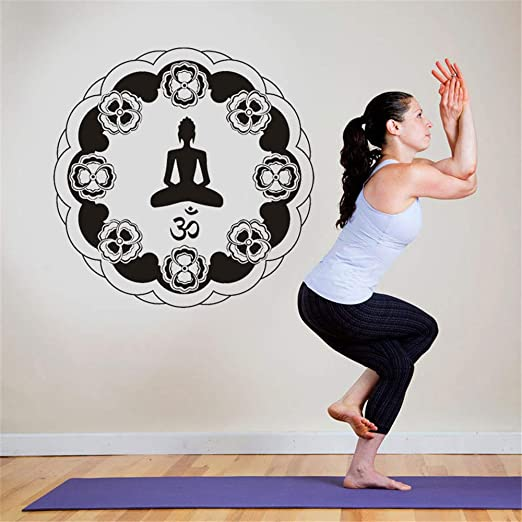 pegatinas de pared espejo Mandala Flower Yoga India Round ...