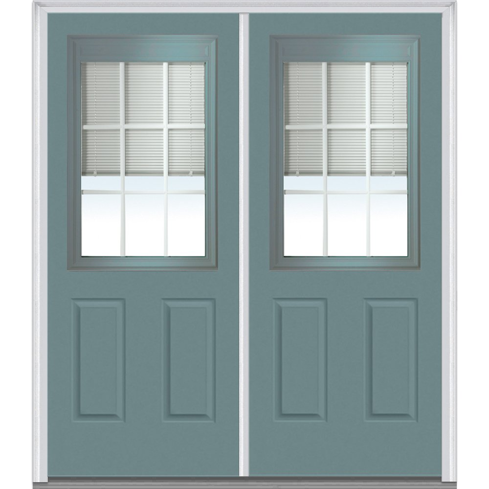 National Door Company ZA10637R Steel, Riverway, Right Hand In-swing, Prehung Door, 1/2 Lite 2-Panel, Clear Low-E Glass with RLB and GBG, 72'' x 80''
