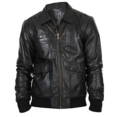 2274122b2e9 Sakama Leather Men s Lexo WW2 Style Bomber Genuine Lambskin Black Leather  Jacket XS