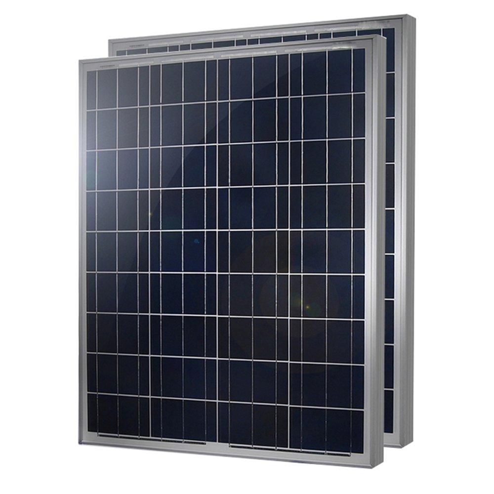 HQST 100 Watt 12 Volt Polycrystalline Solar Panel (2 Pieces) by HQST Solar