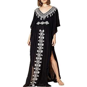 YouKD Womens Summer Long Kaftan Maxi Bohemian Dress Beach Coverup Robe Roomy Kimono One Size