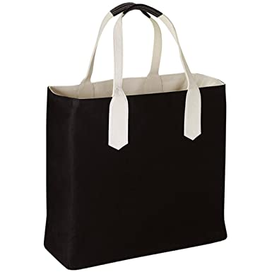 d83249cc8653 ZUZIFY Water-Repellent Reversible Solid Canvas Tote Bag with Contrast  Handles. TU1111 OS Black