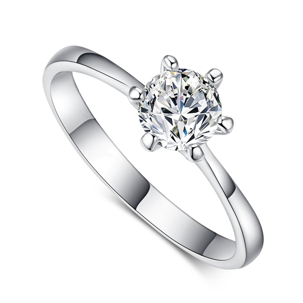 FENDINA Womens 18K White Gold Plated Wedding Engagement Rings 6 Prong Round 1ct Created Diamond Solitaire Anniversary Promise Rings