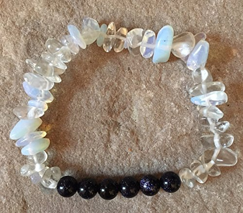 Goldstone Chip Bracelet - Blue goldstone 6mm semi precious gemstone & Moonstone chip bracelet