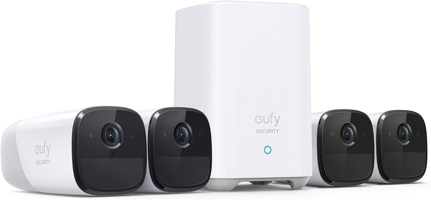 eufy Security, eufyCam 2 Pro Wireless Home Security Camera System, 4-Cam Kit, HomeKit Compatibility, 2K Resolution, 365-Day Battery Life, No Monthly Fee
