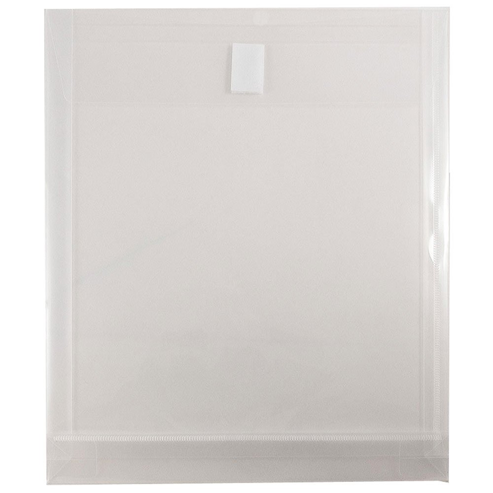 JAM Paper Plastic Expansion Envelopes with Hook & Loop Closure - Letter Open End - 9 3/4 x 11 3/4 with 1 inch Expansion - Clear - 12/Pack