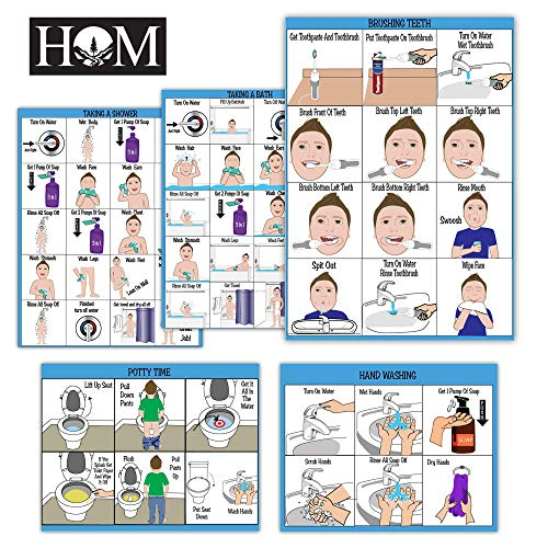 All New! ABA/OT Approved Step-by-Step 9X12 Set of 5 Visual Schedules. Potty Training, Bathing, Shower, Teeth Brushing, Hand Washing.for Autism/Special Needs. Independent Living & Personal Hygiene