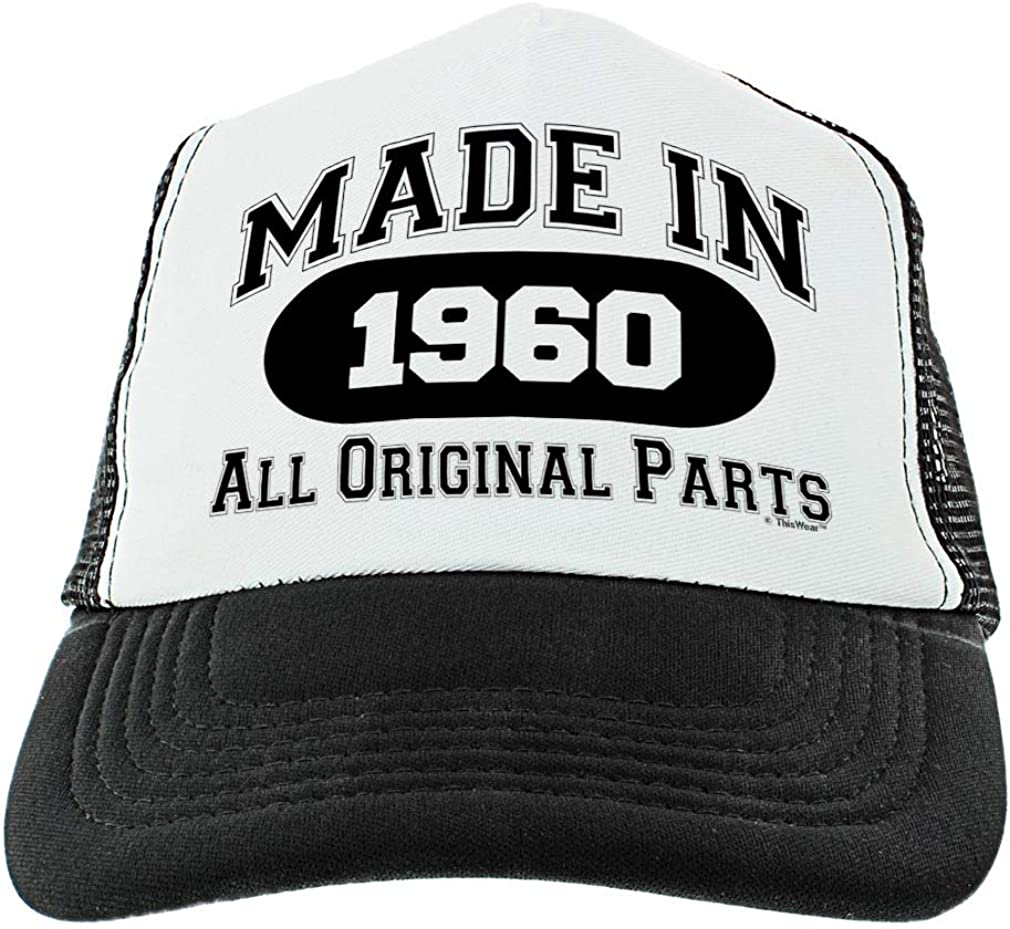 60th Birthday Gifts Made in 1960 All Original Parts Age 60 Birthday Hat Funny Birthday Trucker Hat