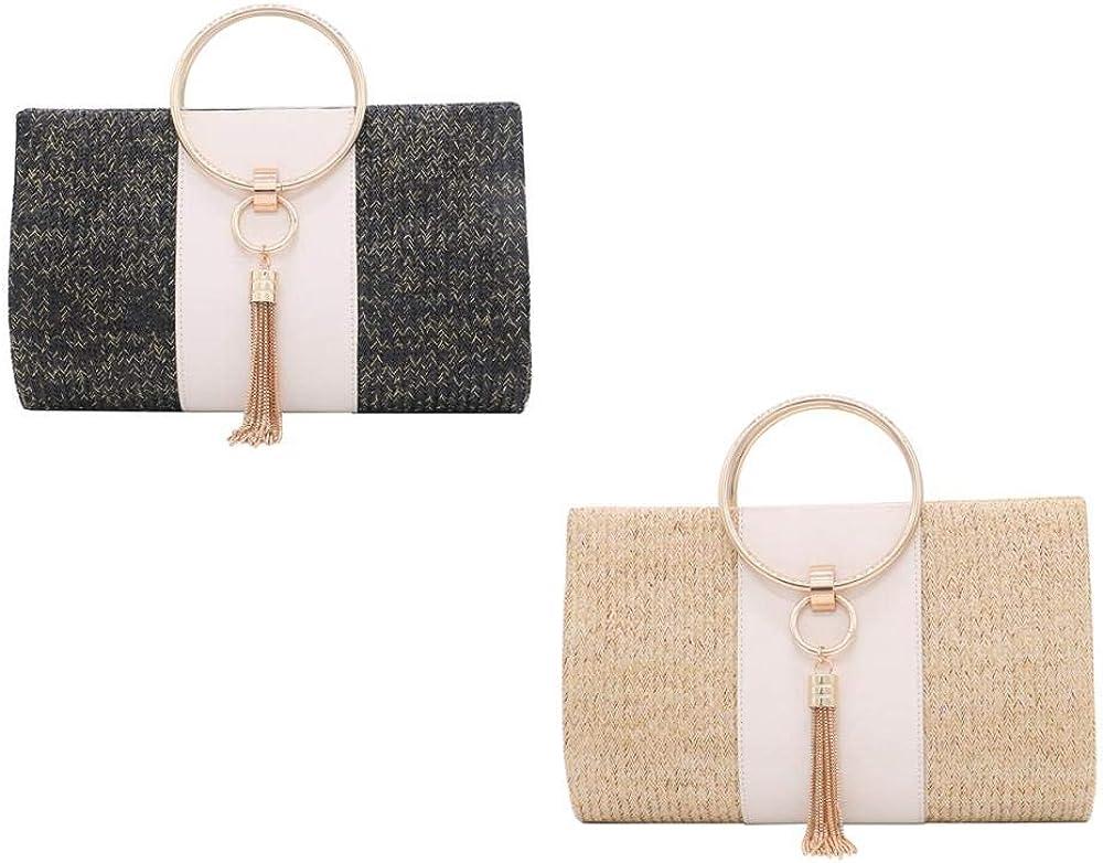 Elegant Summer Beach Tote Tassels Straw Clutch Straw Crossbody Handbag Evening Bag Clutch Purses for Women