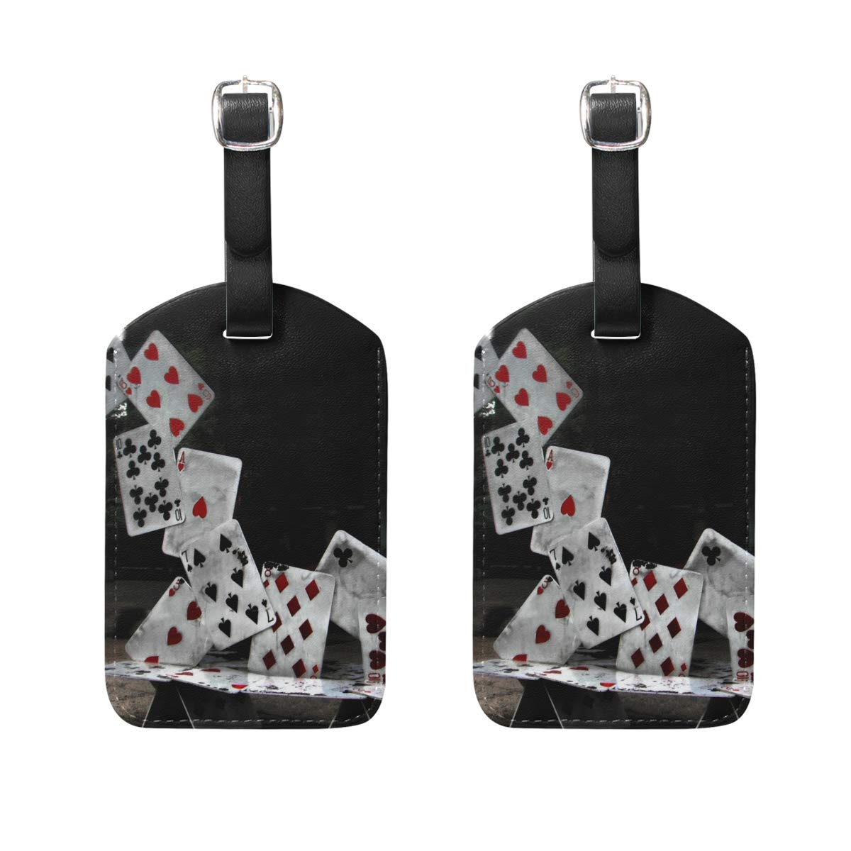 FBTRUST Abstract Castle of Cards Poker Luggage Tag DIY Personalized Print Design (2 Packs)