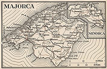 MAJORCA MINORCA Vintage map plan Spain Mallorca Menorca 1958