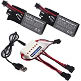 Wwman 2pcs 3.7v 1000mah Official Battery and 1to3 Charger for Udi U842 U818S Rc Quadcopter Drone Black Spare Parts