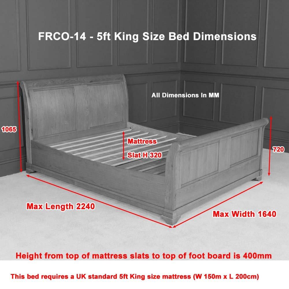 French Regal Eiche 5 ft King Size Schlitten Bett: Amazon.de: Küche ...