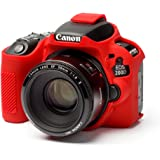 EasyCover Silicone Protective Camera Case Cover for Canon 200D (Red)