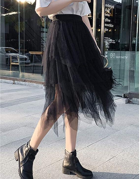 VEMOW Faldas Mujer cómoda de Tul de Cintura Alta Falda Plisada del ...