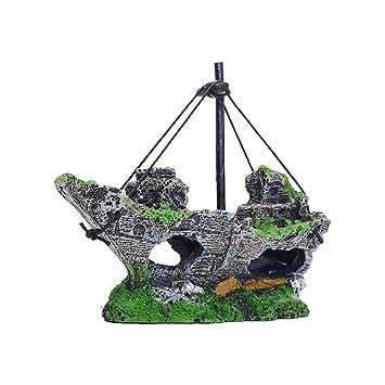 Mallalah Decoración del Acuario Decoraciones de barco pirata de resina barco de vela hundido: Amazon.es: Juguetes y juegos