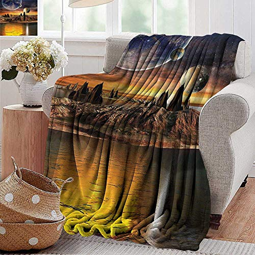 Outdoor Blanket,Galaxy,Fantasy Alien Planet with Earth and Moon View Rocky Surface and Lake Sci Fi Theme Galactic Art,Marigold and Brown,300GSM,Super Soft and Warm,Durable Throw Blanket 60