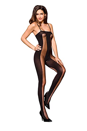 1cdf5e747d9 Music Legs Women's Sheer and Opaque Bodystocking, Black, One Size ...