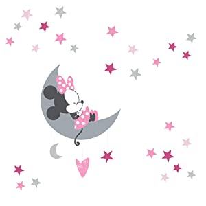 Lambs & Ivy Disney Baby Minnie Mouse Celestial Wall Decals, Pink/Gray