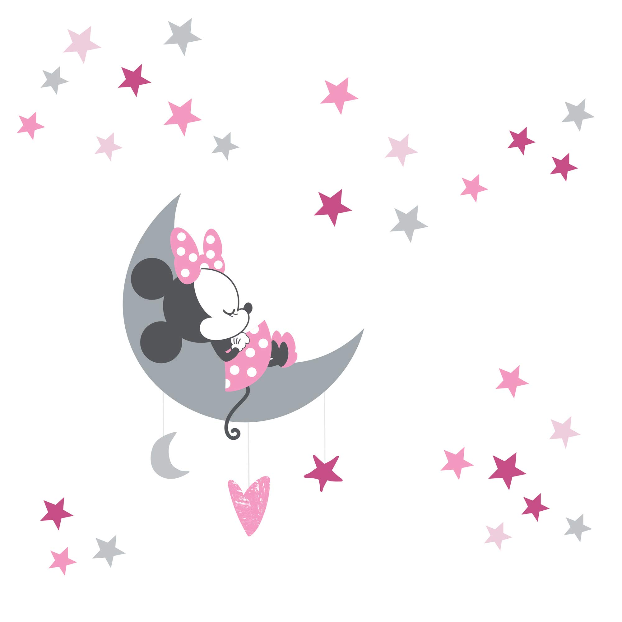Lamb & Ivy Disney Baby Minnie Mouse Celestial Wall Decals, Pink/Gray