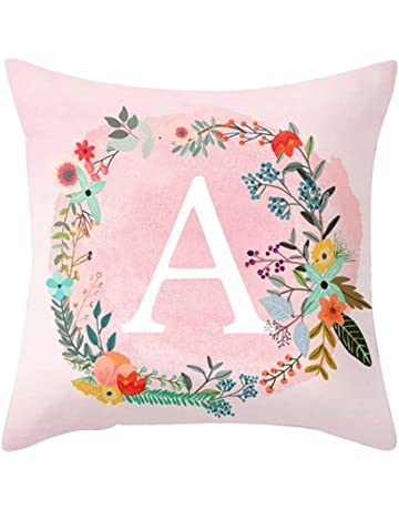 Profusion Circle Flowers Surround English Letters Alphabet A-Z Print Throw Pillow  Cushion Cover Case Cafe Home 25b21388e