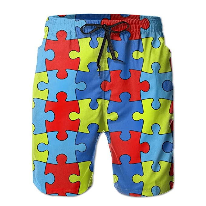 929e9a86963ef Autism Awareness Puzzles Mens Breathable Swim Trunks Beach Shorts Board  Shorts | Amazon.com