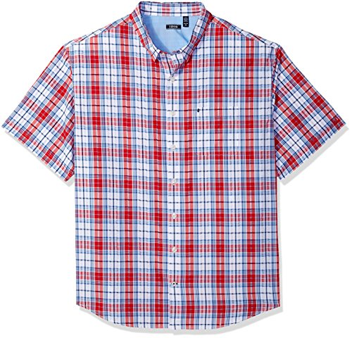 all Short Sleeve Plaid Seersucker Shirt, True red, 3X-Large ()