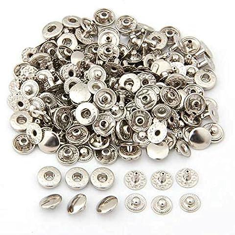 TOOGOO(R) 50 Set Metal No Sewing Press Studs Buttons Snap Fastener Popper (50 Metallo)