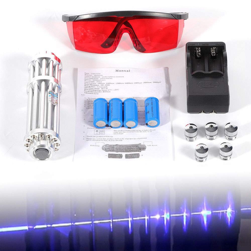 Blue L.a.s.e.r Pointer High Power Burning Light 450nm 5mW Military Kit Visible Beam Light Pen Goggles 5 Caps Battery Charger Metal Portable Box by MONIPA-US