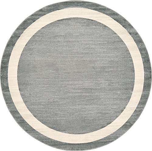 Unique Loom Del Mar Collection Contemporary Transitional Gray Round Rug (8' 0 x 8' 0) ()