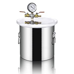 5 Gallon Vacuum Chamber,20L Pressure Pot,Acrylic Acid Lid Stainless Steel Vacuum Degassing Chamber kit,Perfect for Pressure Pot for Resin Casting,w/3 CFM Pump Hose (Shipping from USA) (5 Gallon)