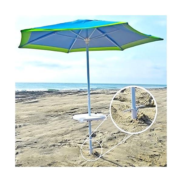 Ombrellone da Spiaggia Porta cavalletto con Vite a 3 Punti, Taglia Unica, Sicuro per Vento Forte (Bianco) 7 spesavip