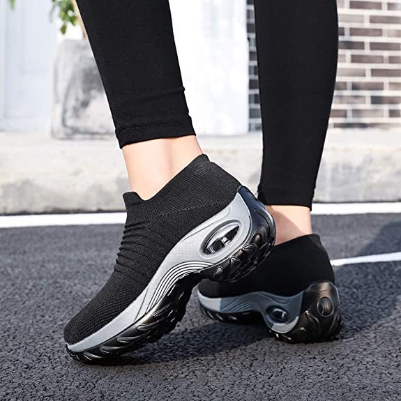 ZUSERIS Womens Slip On Walking Trainers Casual Sneakers Lightweight Athletic Gym Running Shoes Size 35-42