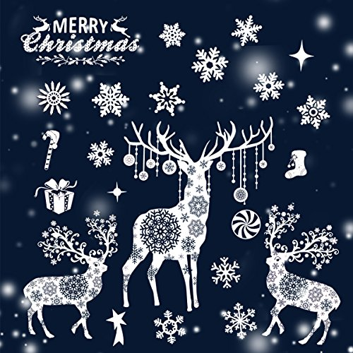 Tinksky Christmas Window Decoration Deer Snowflake Window Clings Merry Christmas Glass Decals Stickers 5538cm