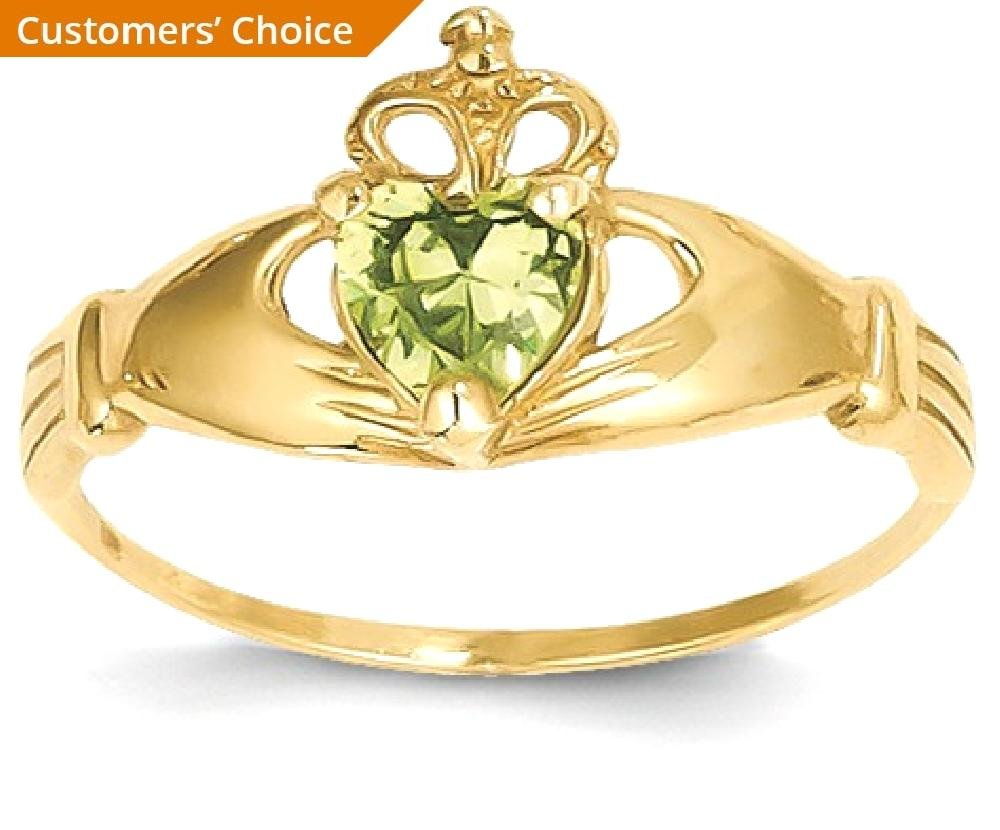ICE CARATS 14k Yellow Gold Cubic Zirconia Cz August Birthstone Irish Claddagh Celtic Knot Heart Band Ring Size 7.00 Style Fine Jewelry Gift Set For Women Heart by ICE CARATS (Image #2)