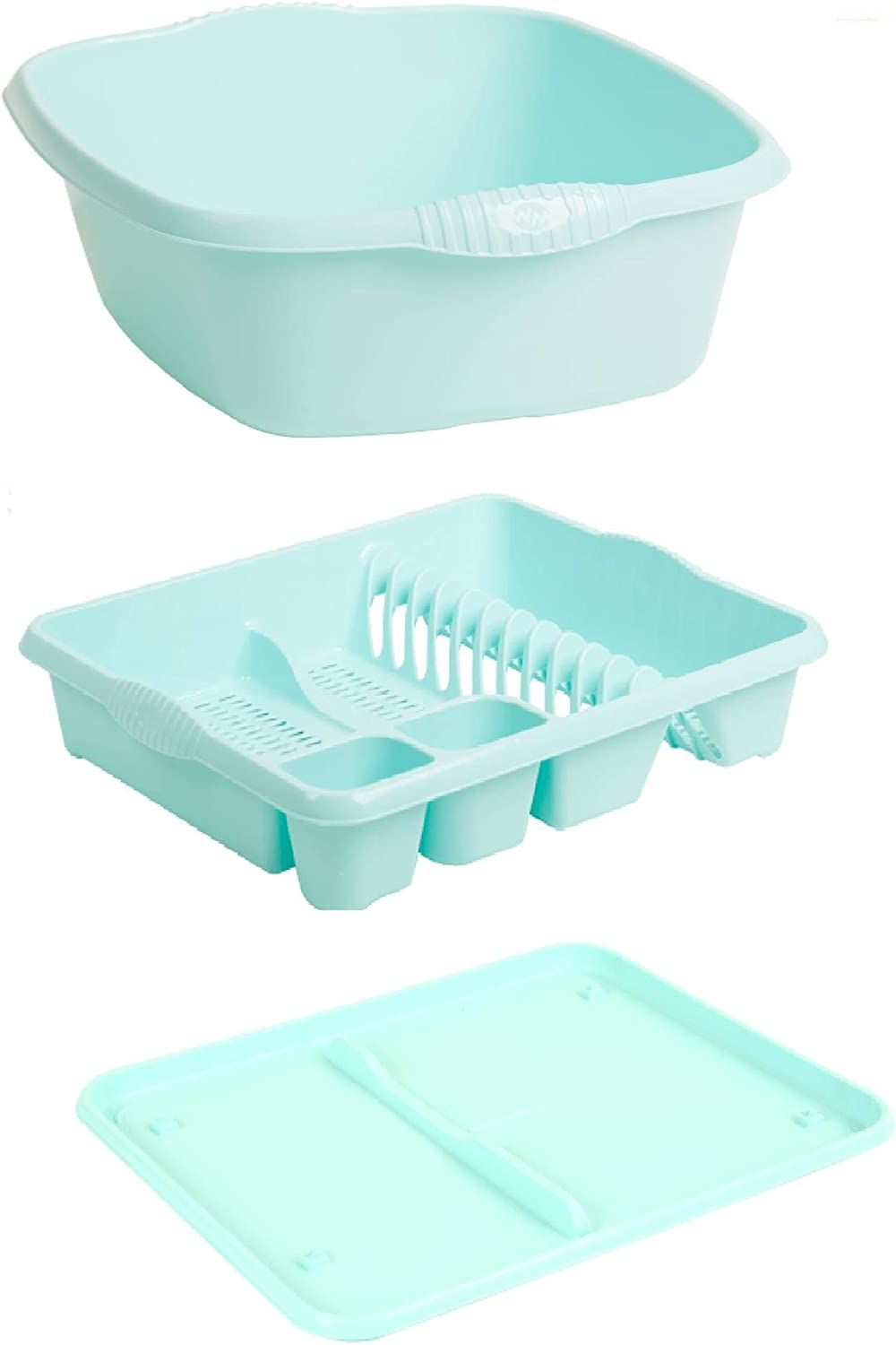 Plastic Large Kitchen Sink Set of 12 Rectangular Washing Up Bowl, Drainer  and Tray (Duck Egg Blue, Large)