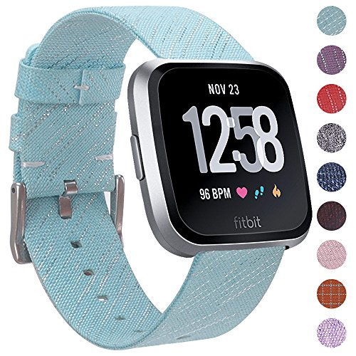 EZCO Compatible Fitbit Versa Bands, Woven Fabric Breathable Watch Strap Quick Release Replacement Wristband Accessories Compatible Fitbit Versa Smart Watch Women Man, Aqua
