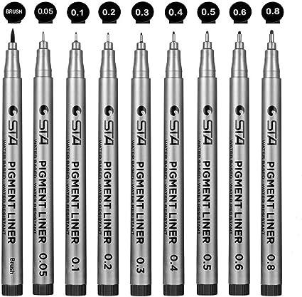 Plumas de L/ínea Fina,Fineliner Plumas Black Pigment Liner Micro Pen Para Ilustraci/ón Art/ística Dibujo T/écnico Documentos de Oficina Manga 9 Paquetes