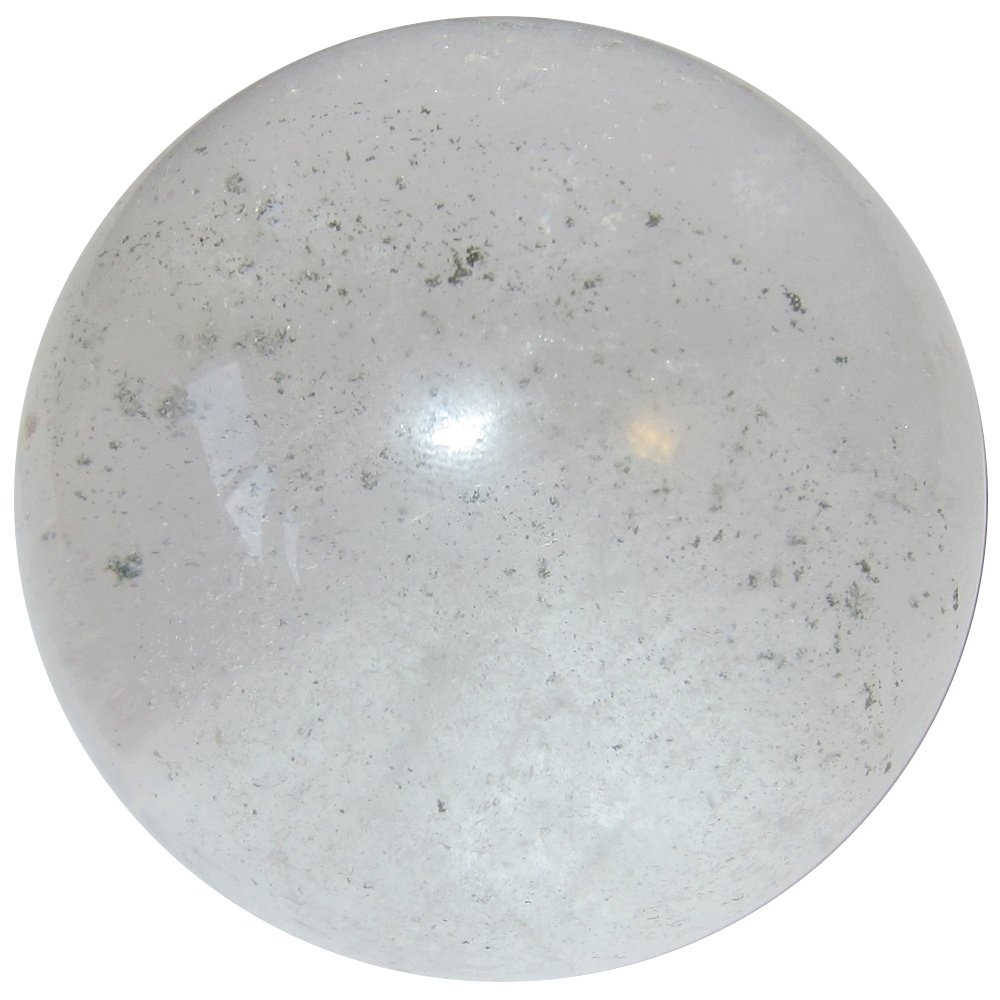 Satin Crystals Quartz Phantom Ball Premium Green Chlorite in Cloudy Inclusions Stone Mystical Fairy Energy Sphere P02 (Sprinkled, 2.2 Inches)