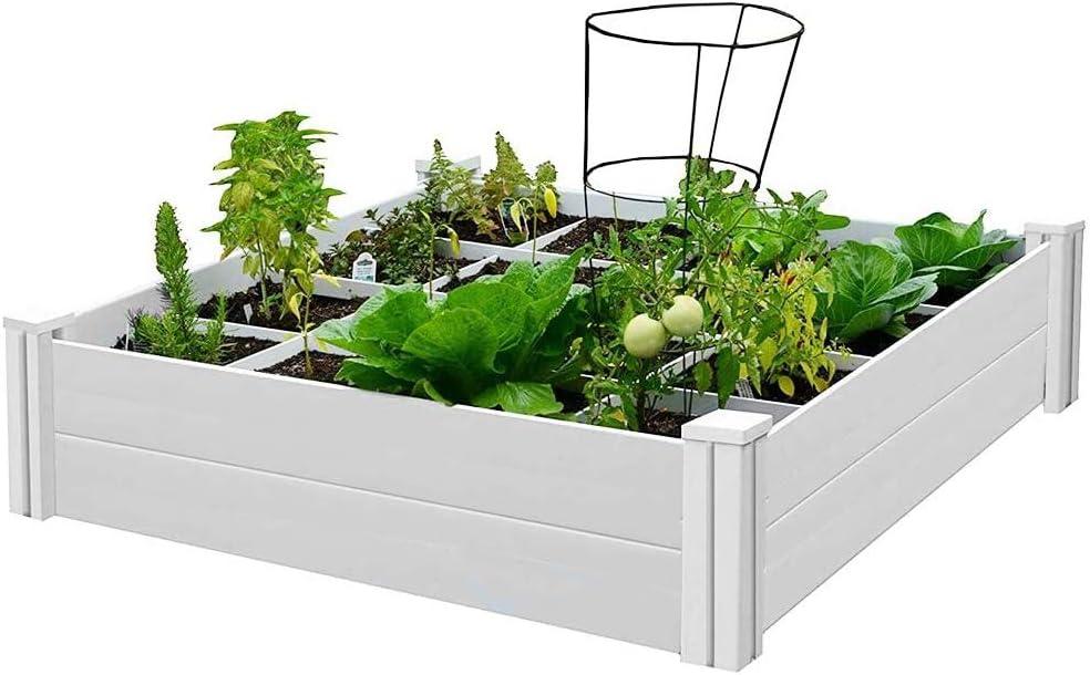 Lovinouse Premium 4 x 4 ft Raised Garden Beds with Grow Grid, for Vegetables, Flowers, Herbs, Plants, Large Vinyl Planting Box