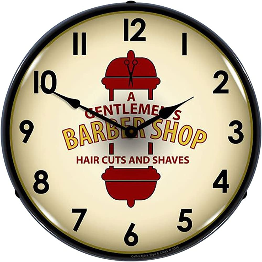 Barber Shop 2 14 Lighted Wall Clock